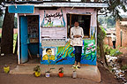 Barber shop with pot plants arranged at the front,  outskirts of Nairobi, Kenya