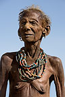 Portrait of an elderly woman of the Dassenech tribe. Omo Delta, Ethiopia, Africa.
