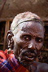 Samburu tribesman attending the circumcision of the young men of the tribe. Mount Nyiru, Kenya, Africa