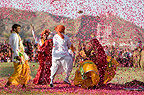 People throwing coloured paper, Elephant festival, Jaipur.