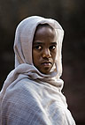 Young woman attending church, Lalibela, Ethiopia, Africa.