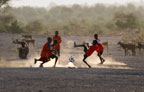 Boys playing football, Afar tribe, Bilen, Ethiopia
