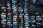 Aerial view of a car graveyard, Johannesburg, South Africa