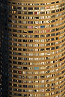 Aerial view of a cylindrical tower block in Johannesburg, South Africa