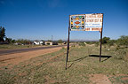 Roadside sign advertising the work place of Ndebele artist, Esther Mahlangu, South Africa.<BR>Ndebele Tribe