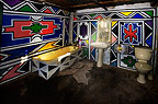 Bathroom of a traditionally decorated Ndebele house, South Africa.