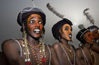 Wodaabe men performing for the tribeswomen during the Gerewol Festival, north of Abalak, Niger