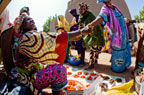 Women trading at the Monday market outside the Great Mosque, Djenne, Mali