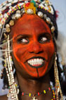 Wodaabe tribesman performing at the Gerewol Festival, north of Abalak, Niger