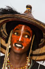 Wodaabe man performing for the tribeswomen at the time of the Gerewol Festival, near Abalak, Niger