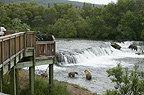 Viewing platform for people to watch Brown bears fishing, Brooks Falls, Katmai National Park, Alaska