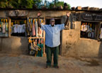 A man in front of his shop in Sergou, Mali