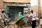Outside a beauty parlour in Mopti, Mali