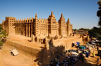 The Great Mosque, the largest building in the world made of mud, in Djenne, Mali