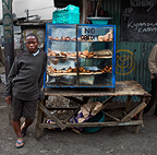 Street vendor selling food, Nairobi, Kenya.