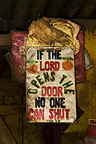 Sign hanging in interior of the Half-London greengrocer, Nairobi, Kenya.