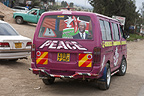 Matatu (taxi) with Peace slogan, Nairobi, Kenya.