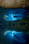 Diver in the entrance to an underwater cave, Croatia