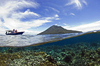 Manado Tua Vulcan, Indonesia, seen from half in and and half out of the ocean.