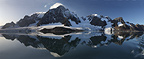 Glacial and mountain panorama and moon, Samarinv�gen, Hornsund, Svalbard