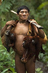 Huaorani Indian, Geme Baiwa carrying hunted howler monkeys and coati. Gabaro Community, Yasuni National Park, Amazon rainforest, Ecuador, South America.