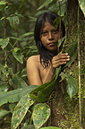 Huaorani Indian girl, Carmen Kaiga. Gabaro Community, Yasuni National Park, Amazon rainforest, Ecuador, South America.