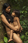 Huaorani Indian women & child, Norma & Romelia Kaiga. Gabaro Community, Yasuni National Park, Amazon rainforest, Ecuador, South America.