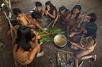Huaorani eating in their house. The meat is chopped up and placed on banana leaves on the floor. Bameno Community, Yasuni National Park, Amazon rainforest, Ecuador, South America.