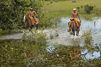 Pantanal cowboys 'Boiadeiros' during the floods, Mato Grosso do Sul Province, Brazil