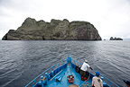 MV Sea Wolf liveaboard approaching Malpelo Island, National Park, Natural World Heritage Site, Colombia, East Pacific Ocean
