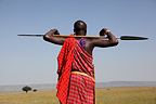 Masai guard with spear, Masai Mara, Kenya
