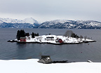 Oma island in winter, Hardanger fjord, Western Norway