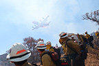 Wolf Creek Hotshot crew stops work to watch as a huge tanker drops a load of retardant on the Wildcat Fire, Nevada, 2011
