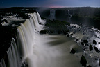Iguazu Falls by moonlight, photographed from Brazilian side, State of Parana, Brazil.