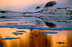 Sea canoe under the midnight sun, Greenland