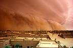 Sandstorm on the town of Gao, Mali