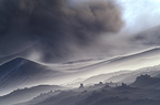 Volcanic ash driven by the wind, Mount Etna, Italy
