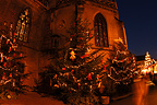 Christmas market and collegiate church, Colmar, France