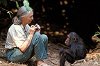 Jane Goodall in front of Gaia, Gombe, Tanzania