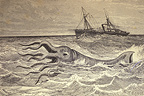 Engraving of a Giant Squid and a ship