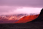 Intense red sunset, Sebrafjella, Spitzbergen, Norway