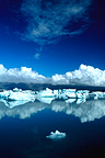 Reflections of icebergs on the Jökulsarlon lake, Iceland