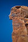 Block of stone in the shape of head of Egyptian god, Utah, USA