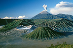 Volcano active Semeru and old craters Java Indonesia