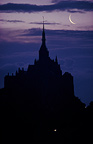 Moon rise on Mont Saint-Michel in the morning,  Manche, France