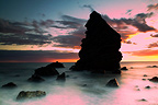 Rocks at sunset on the Costa del Sol Spain