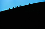Silhouette of tourists climbing the crater of Mount Etna, Italy