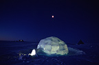 Igloo at night Dome Summit Greenland