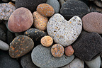 Pebbles colourful and heart-shaped in the Bay France