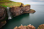 Cliffs and waterfall of Stonehaven Scotland